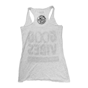 """GOOD VIBES - SPREAD EM"" Women's Athletic Grey TriBlend Racerback"