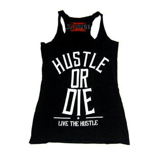 Womens Racerback Tank Top - Hustle Or Die Charcoal