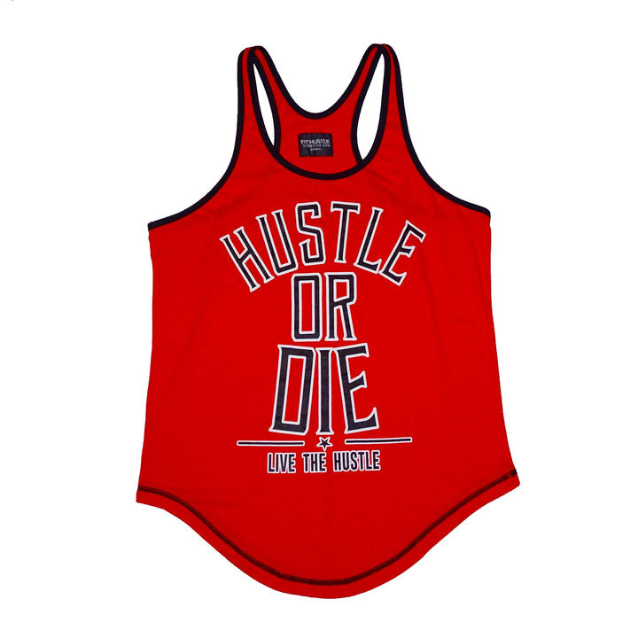 """Hustle or Die"" Red Men's Stringer"