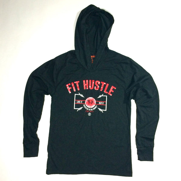 Lightweight Hoodie - Live it X Rep it Vintage Black/Red
