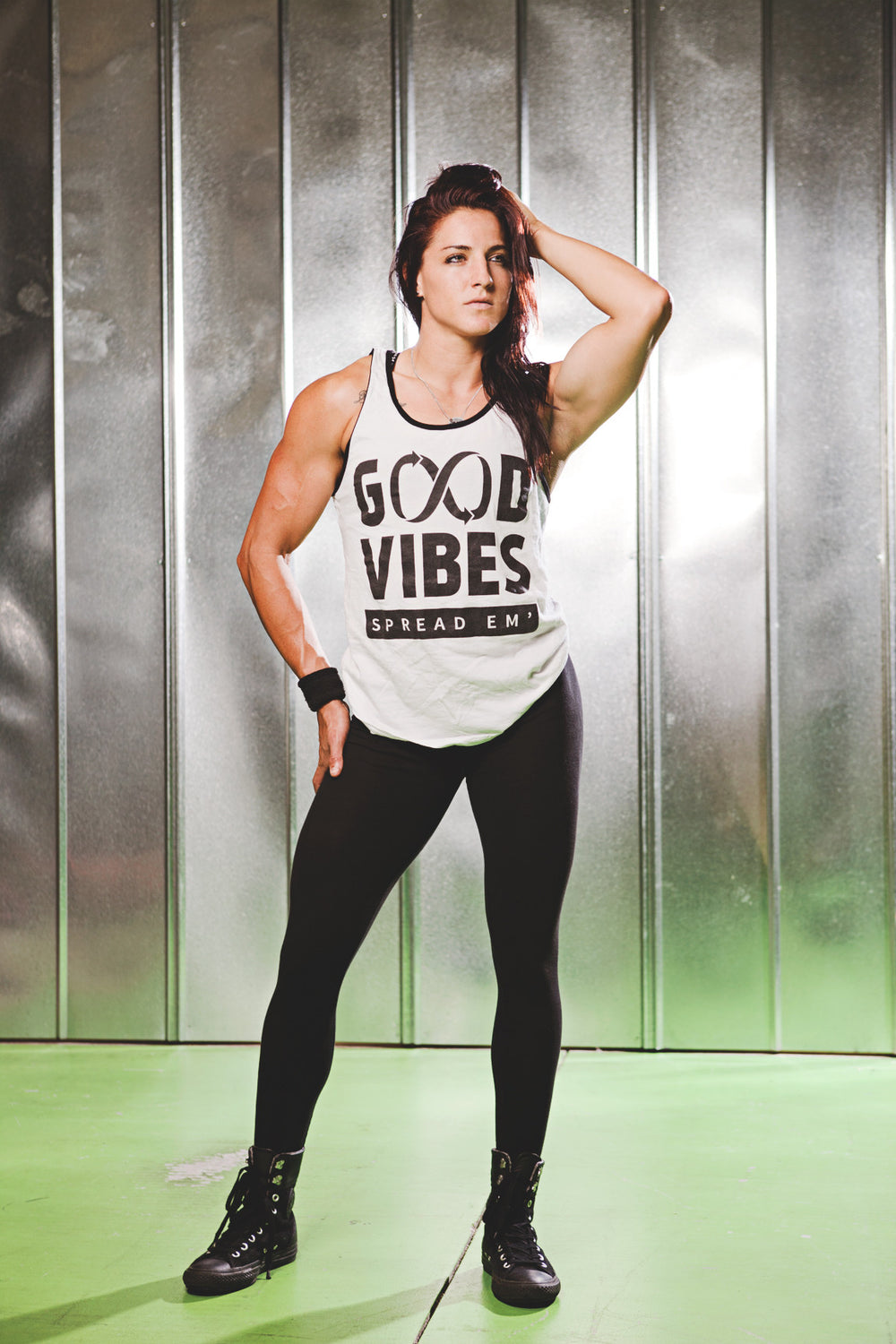 """GOOD VIBES - SPREAD EM"" White/Black Tank"