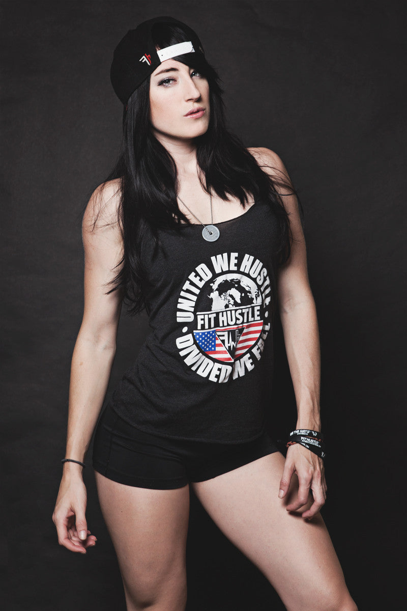 "Classic Women's Red/White/Blue ""UWHDWF"" Charcoal Triblend Racerback"