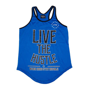 """Live The Hustle"" Blue Men's Stringer"