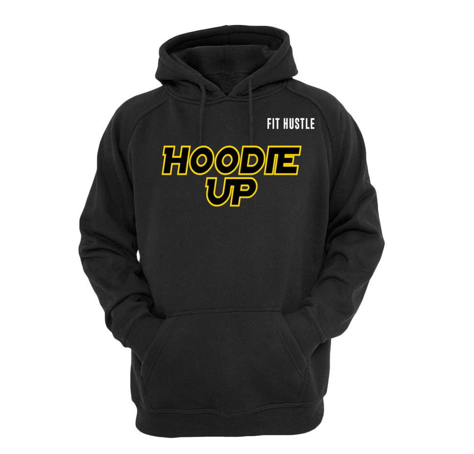 """HOODIE UP"" - Black Heavyweight Pullover"