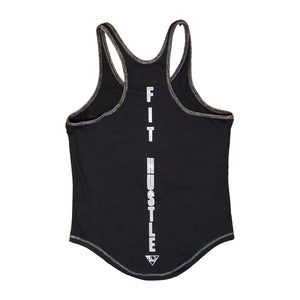 """No Excuses / Just Hustle"" Men's Stringer - Blk/Heather Charcoal Trim"