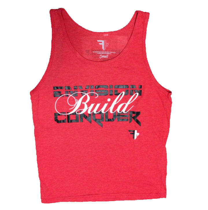 "Tri Blend Red -""Envision Build Conquer"" Motivational Tank"