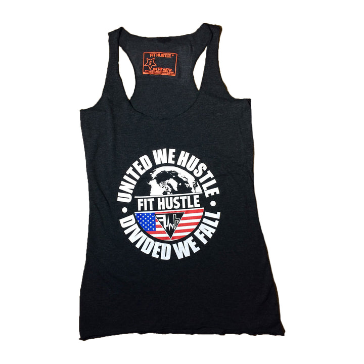Women's 'United We Hustle' Charcoal Black Triblend Racerback