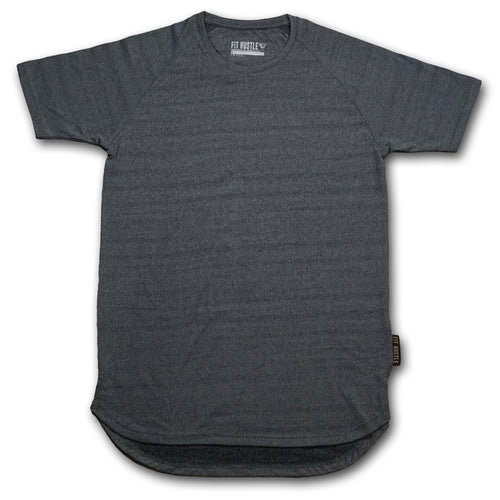 Premium Hustler Scallop Tee - Heather Charcoal