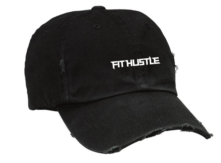 Distressed Black Twill Cap