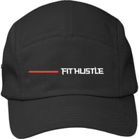 'Flat Line' - Black/Red 5-Panel Hat Fabric: 100% Cotton twill