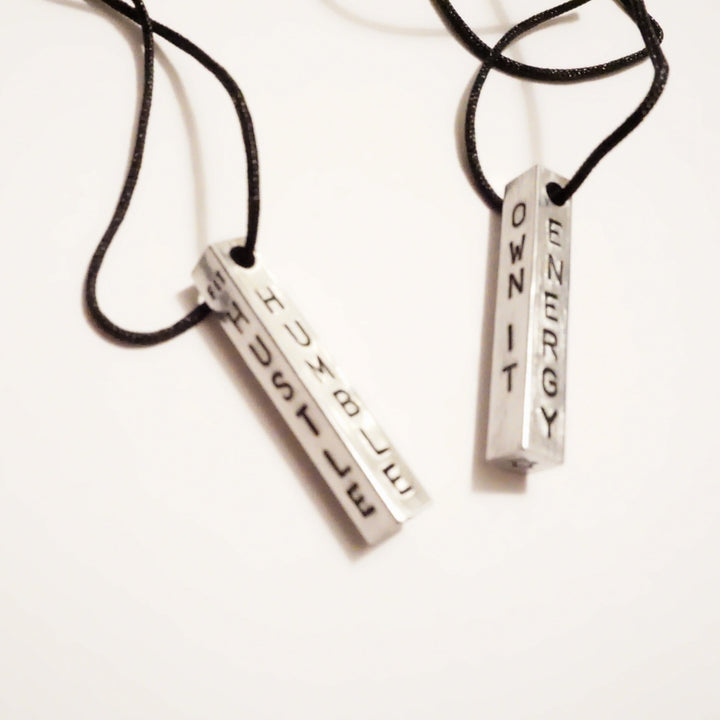 """The Core Values"" - Aluminum/Black Cord - Motivation Necklace"