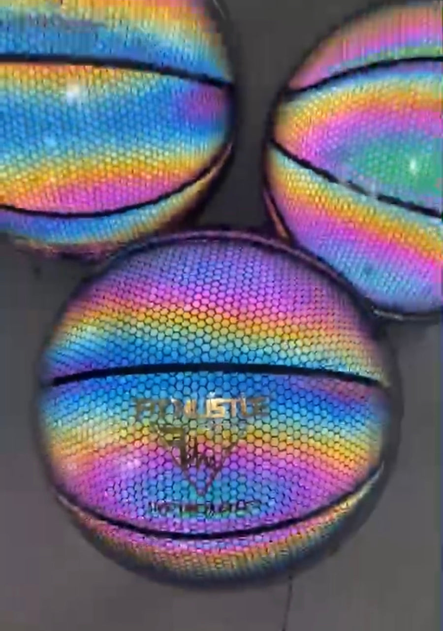 FIT HUSTLE® HOLOGRAPHIC GLOWING REFLECTIVE BASKETBALL