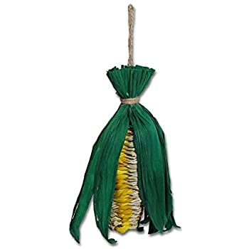 Hanging pet toy made of straw, made to look like an ear of corn.