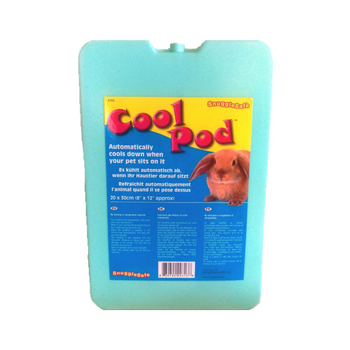 Snuggle Safe Cool Pod with text 'Cool Pod - automatically cools down when your pet sits on it'