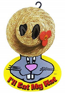 Straw sun hat attached to ears of cardboard depiction of a rabbit with the text 'I'll eat my hat'.