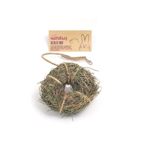 A ring of dried alfalfa with a cardboard display label.