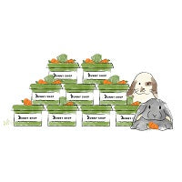 A drawing of two rabbits next to a pyramid of boxes containing vegetables.