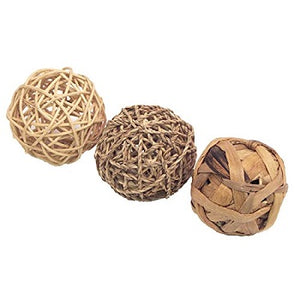 Three balls woven out of seagrass, water hyacinth and rattan.