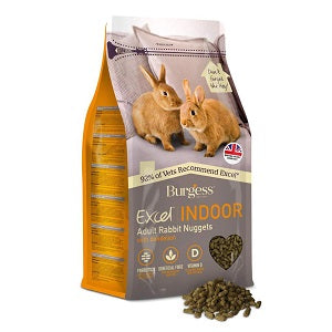 Burgess Excel Indoor Adult Rabbit Nuggets bag with feed alongside.