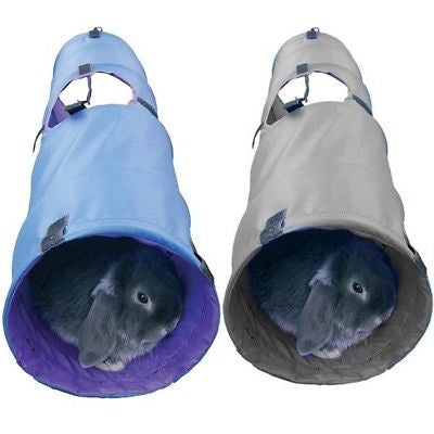 A blue tunnel and a grey tunnel with rabbits inside each.