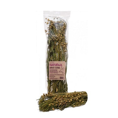 Dried herbs, grasses and other plants in a clear plastic bag.