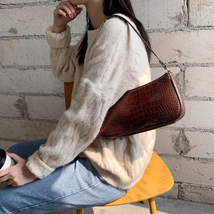 Retro Alligator Pattern Women Messenger Flap Handbag B138
