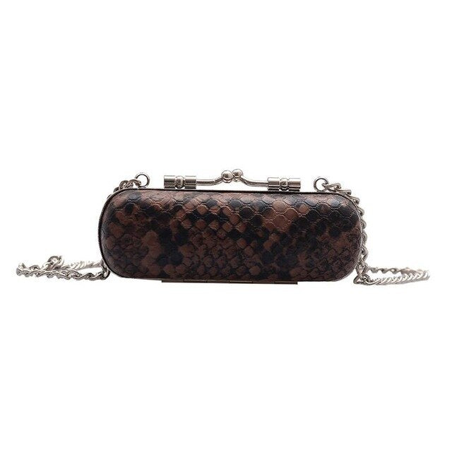 Snake Print Lipstick Purse With Chain B133