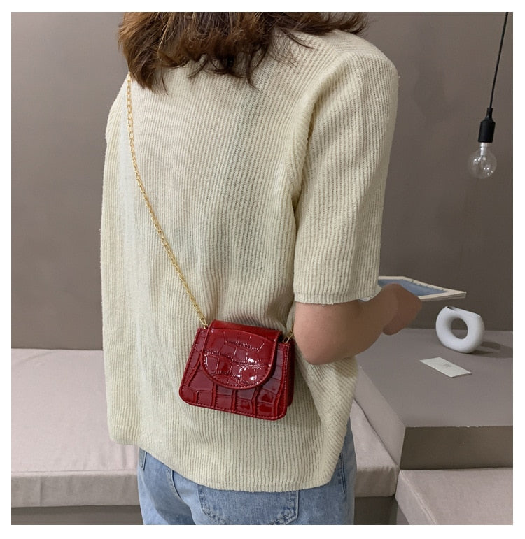 Mini Crocodile Pattern Chain Shoulder Bag B403