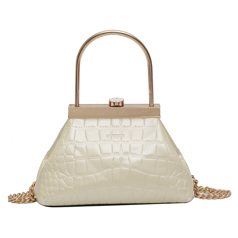 Crocodile pattern Small Tote With Metal Handle B132