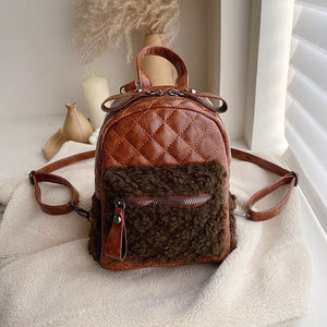 Korean PU Leather and Woolen Patchwork Backpack B309