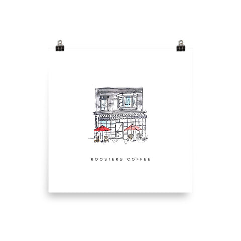 Roosters Coffee Print - White