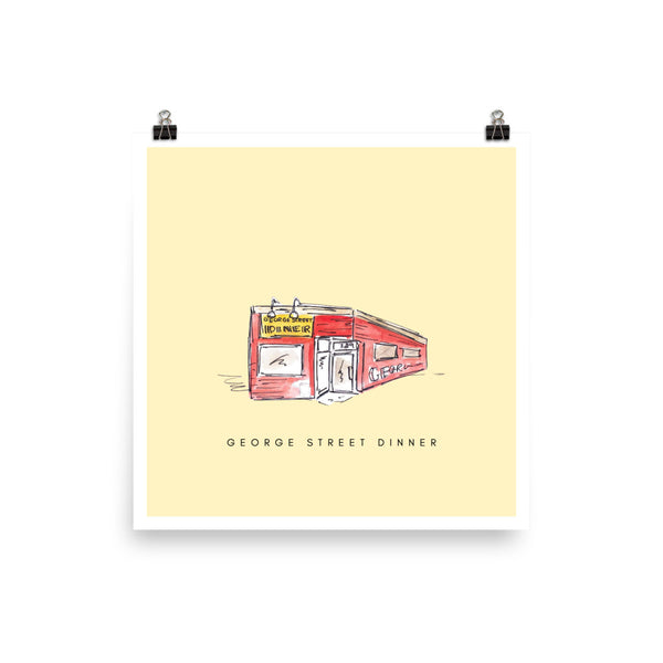 George Street Dinner Print - Yellow