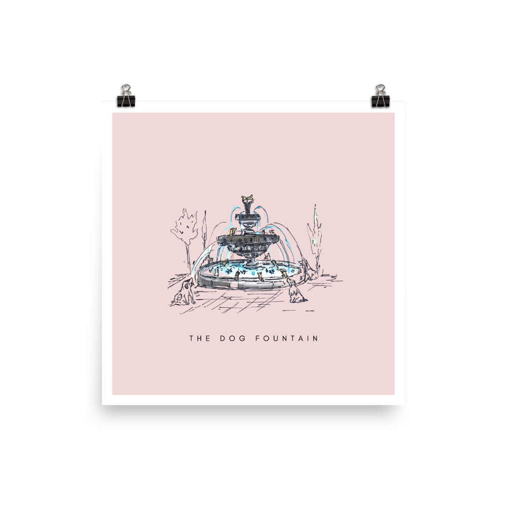 The Dog Fountain Print - Pink