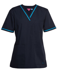 Navy Aqua Contrast Ladies Scrubs Top