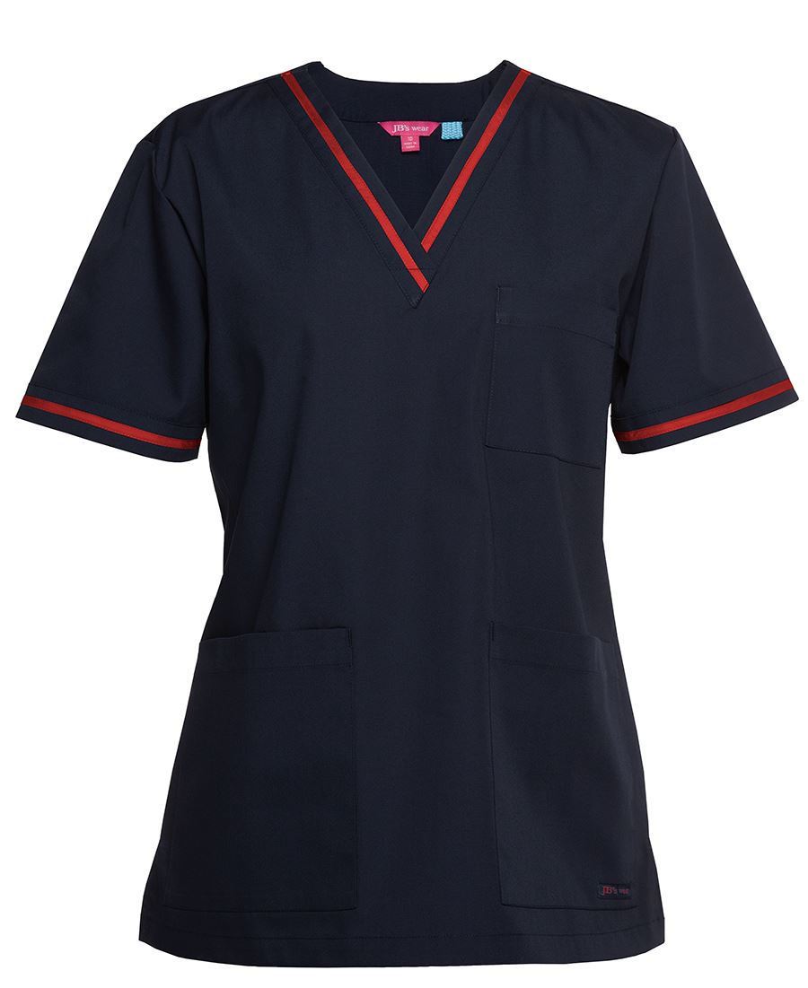 Navy Red Contrast Ladies Scrubs Top