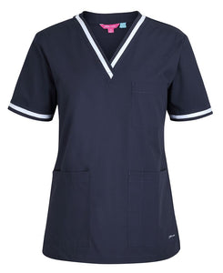 Navy White Contrast Ladies Scrubs Top