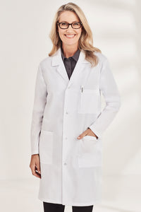 Woman wearing Unisex Lab Coat