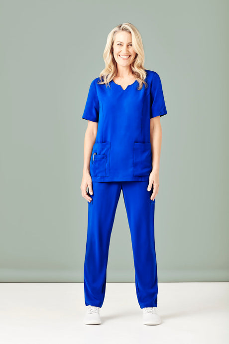 Woman wearing Electric Blue Slim Leg Scrub Pants