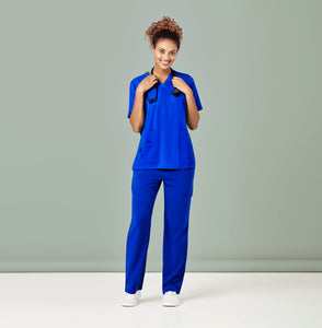 Woman wearing Electric Blue Straight Leg Scrub Pants