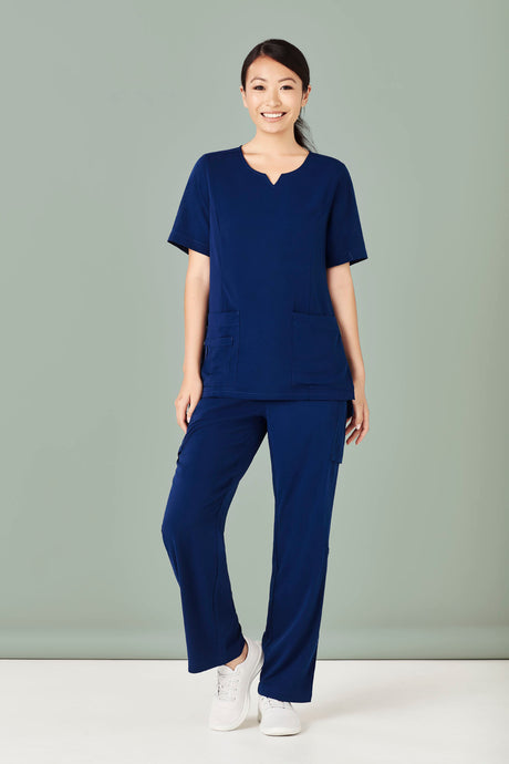 Woman wearing Navy Tailored Fit Round Neck Scrubs Top