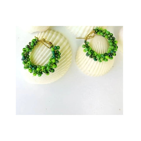 Chihiyo Green Beaded Earrings