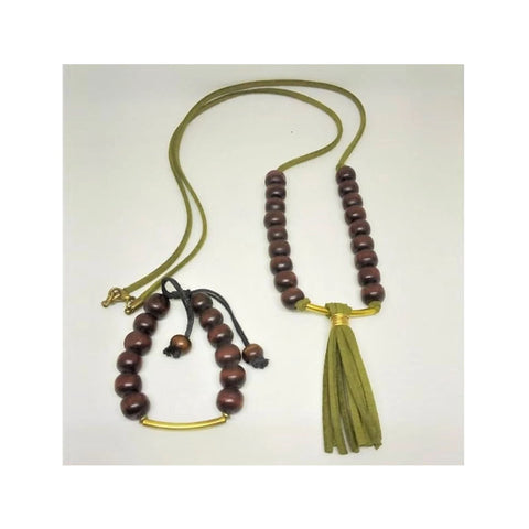Chihiyo Brass Suede & Wooden Beads Set
