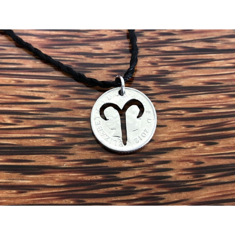 Aries Zodiac Cut Coin Necklace