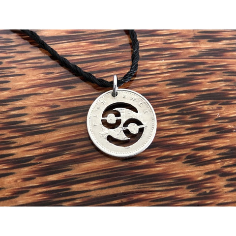 Cancer Zodiac Sign Cut Coin Necklace