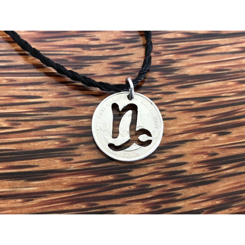 Capricorn Zodiac Sign Cut Coin Necklace