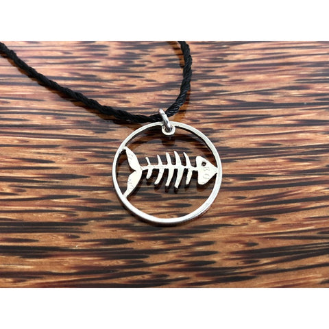 Fish Bone Cut Coin Necklace