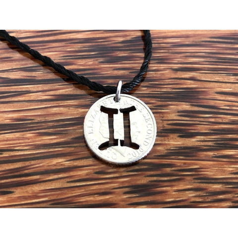 Gemini Zodiac Sign Cut Coin Necklace