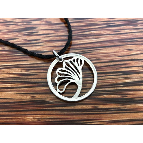 Gingko Biloba Cut Coin Necklace