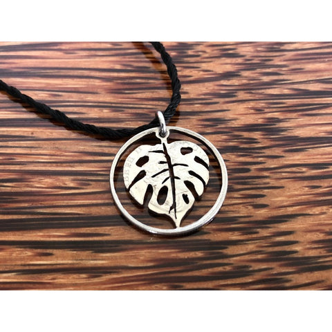 Monstera Leaf Cut Coin Necklace