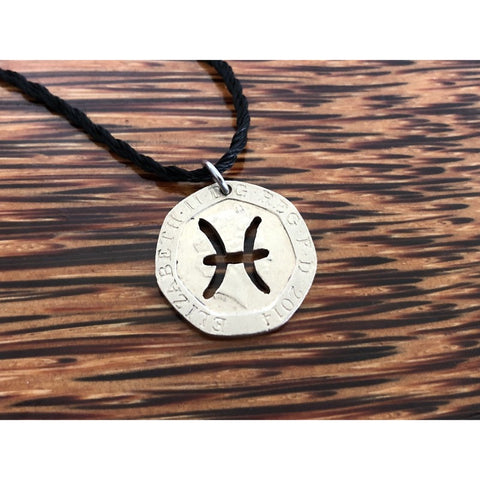 Pisces Zodiac Sign Cut Coin Necklace